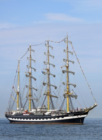 yachtsman: PORT WARNEMÜNDE, GERMANY - AUGUST 10  Old russian Sailing ship  Kruzenstern  arrived at port on August 10, 2013 in the scope of the 23   Hanse-Sail  - Rostock-Warnemünde  Mecklenburg-Vorpommern, Germany