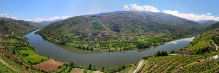 Valley of river Douro with vineyards near Mesao Frio  Portugal  - panoramic view