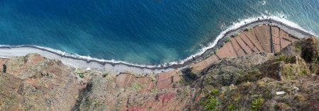 Terraced fields  Fajas de Cabo Girao  located below the sheer cliffs - panoramic view photo