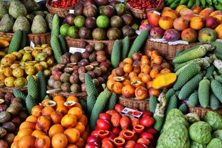 Fresh fruits in Mercado Dos Lavradores  Funchal, Madeira   Standard-Bild