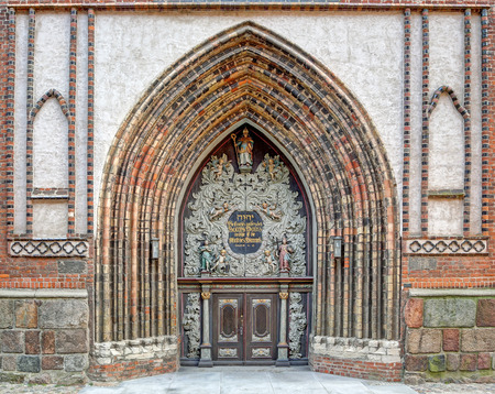 Entrance to the Cathedral St  Nikolai in Stralsund  Mecklenburg-Vorpommern, Germany  photo