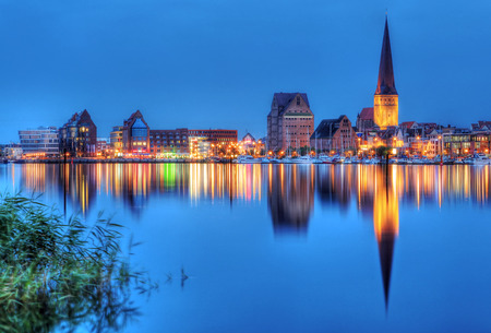 City port of Rostock by night Stock Photo