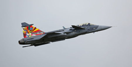 Air Force Base LAAGE, GERMANY - AUGUST 23: Saab JAS 39 Gripen jet during flight demonstration on 23   August, 2014 during the German Air Force Open Day at Tactical Air Force Wing 73 Steinhoff, Germany
