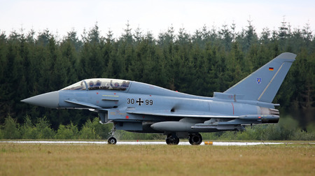 Air Force Base LAAGE, GERMANY - AUGUST 23: Eurofighter training jet after flight demonstration on 23 August, 2014 during the German Air Force Open Day at Tactical Air Force Wing 73 Steinhoff, Germany