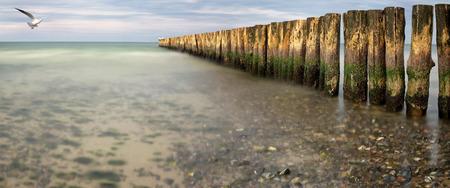 groynes: Beach with line of Groynes as background