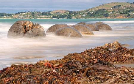 boulder: Moeraki Boulders near Hampden, New Zealand - long time exposure