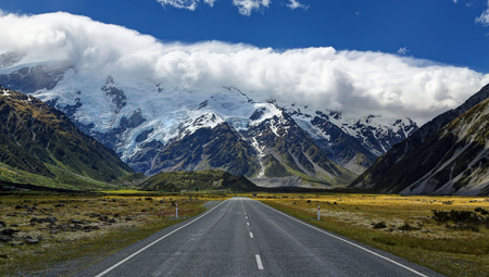 snow capped mountain: Road to Mt. Cook Village, New Zealand - HDR image Stock Photo