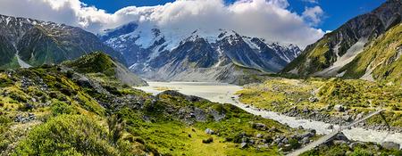 hooker: View over Hooker Valley, Mount Cook National Park - New Zealand Stock Photo