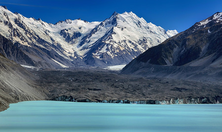 aoraki mount cook national park: View over Tasman Lake with Tasman glacier, New Zealand