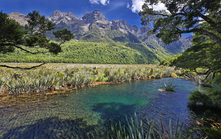 Mirror Lakes (Fjordland, New Zealand) Stock Photo