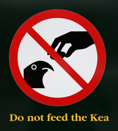 Warning Sign Do not feed the Kea - New Zealand