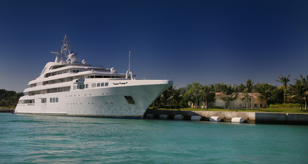 luxury yacht: Luxury Yacht in front of Tropical Iceland Editorial