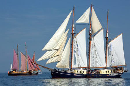 yachtsman: PORT WARNEMUENDE, GERMANY - August 6, 2015 Old sailing ship Albert Johannes Netherland is sailing near Rostock-Warnemnde on August 6, 2015 in the scope of the 25th Hanse Sail Rostock - Mecklenburg-Vorpommern, Germany