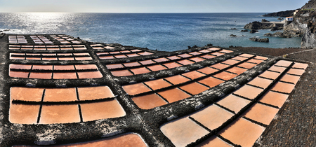 evaporation: Panoramic view of Salt evaporation ponds near Fuencaliente - La Palma, Canary Islands