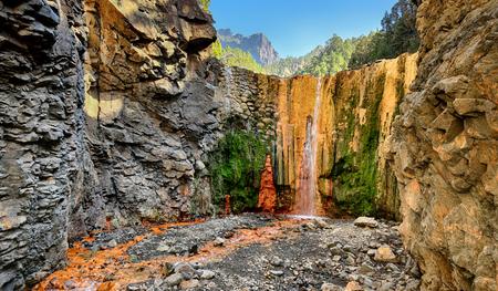 colores: Waterfall Cascada de Colores at La Palma - Canary Islands