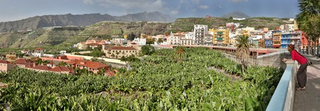 tree fruit: Panoramic view of Tazacorte with young women - La Palma, Canary Islands Stock Photo