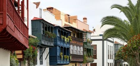 la: Santa Cruz de la Palma - panorama of wooden balconies - La Palma, Canary Islands