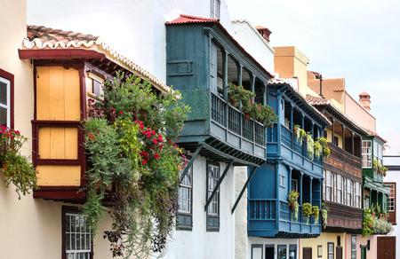 cosiness: Santa Cruz de la Palma - wooden balconies La Palma, Canary Islands Stock Photo