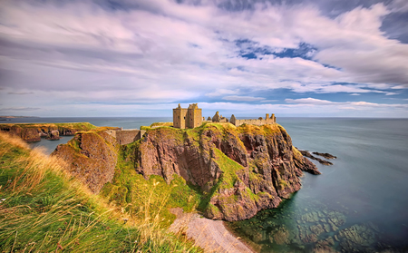 Medieval fortress Dunnottar Castle - Aberdeenshire, Scotland long time exposure Stock Photo