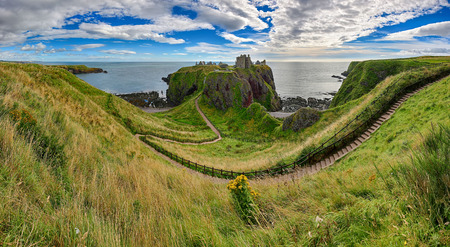 Way to the old fortress Dunnottar Castle - Aberdeenshire, Scotland