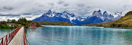 Lake Pehoe at Torres del Paine NP - Patagonia, Chile Stock Photo