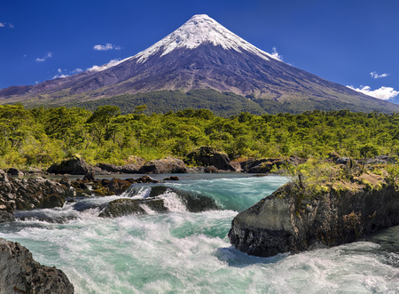 Petrohue Waterfalls in front of Volcano Osorno - Chile