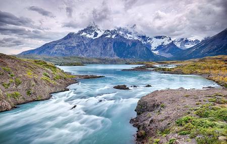 Rio Paine near Salto Grande waterfall - Torres del Paine NP - Patagonia, Chile Фото со стока