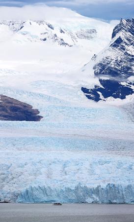Vessel in front of Perito Moreno Glacier at Los Glaciares National Park NP, Argentina