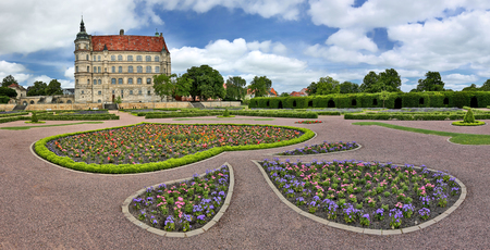 Panoramic view of the Palace Güstrow -Germany - with palatial garden Editorial