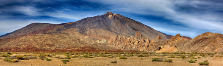 Panorama of volcano Teide with Llano de Ucanca - Tenerife, Canary Islands