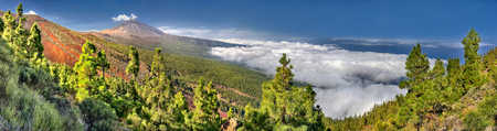 Panorama of the volcano Teide and Orotava Valley - view from Mirador La Crucita - Tenerife, Canary Islands