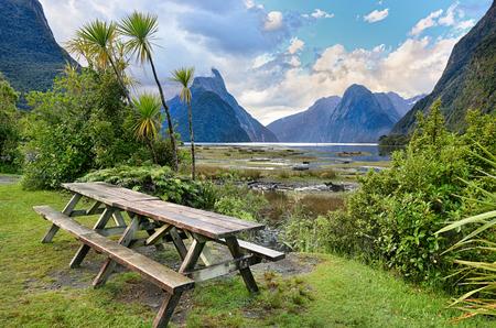 Rest area at Milford Sound - Fiordland, New Zealand Фото со стока