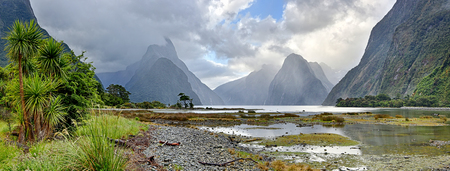 Panoramic view of Milford Sound - Fiordland, New Zealand Standard-Bild