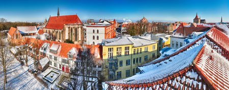 Panoramic view of the old center of Rostock around the Abbey of the Holy Cross - Germany