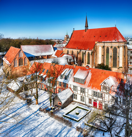Abbey of the Holy Cross, Rostock - Germany in winter time - HDR panorama Фото со стока