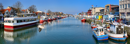 Panoramic view of the Alter Strom - Old Channel of Warnemuende - Mecklenburg-Vorpommern, Germany