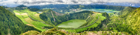 Panoramic view of Crater Sete Cidades from Pico da Cruz at Sao Miguel, Azores
