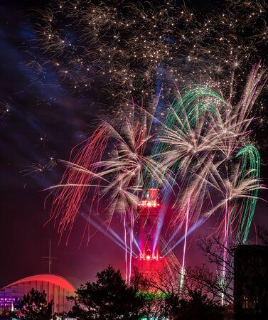 Light house with fireworks - Rostock Warnemuende, Germany Stok Fotoğraf