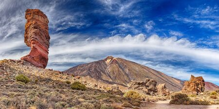 Rock formation Roque cinchado in front of volcano Teide, Tenerife, Canary Islands - Panoramic view