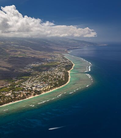 Aerial view of the Lagoon near Saint Paul, Ermitage les Bains, at West Coast of La Reunion