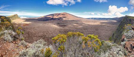 Panoramic view of the Caldeira of volcano Piton de la Fournaise at island La Reunion