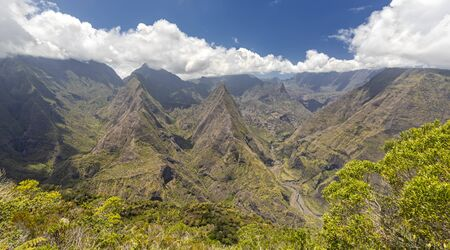 View from Cape Noir into the crater Cirque de Mafate at island La Reunion