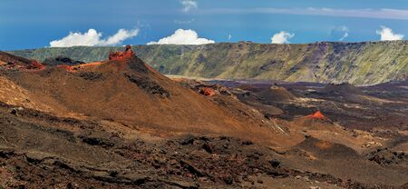 Cones of Cratere Rivals at southern slope of volcano Piton de la Fournaise at island La Reunion