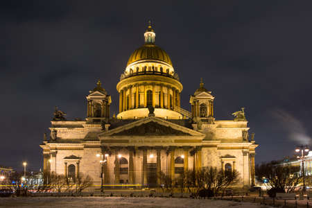 St. Isaac's Cathedral in the city of St. Petersburg night.