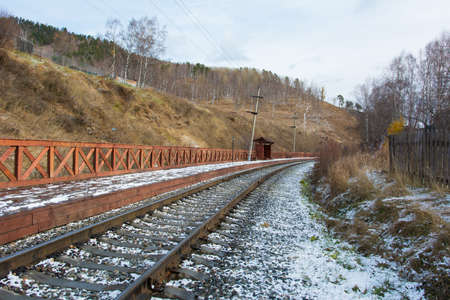 Circum Baikal railway in winter. The Circum Baikal railway and railway station.