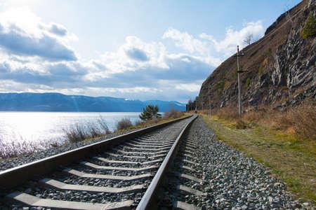 Circum Baikal railway in winter. Circum Baikal railway in sunny day in winter.