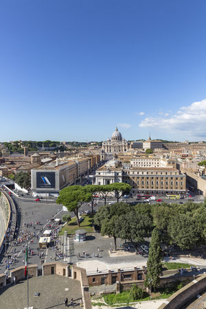 peter's: View from the Castel SantAngelo to St. Peters, Rome, Italy Editorial