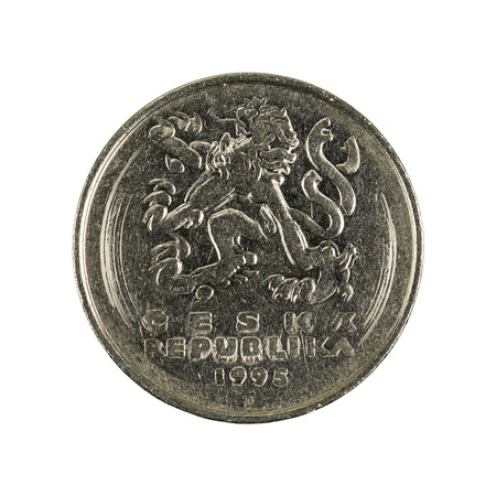 five czech krone coin (1995) isolated on white background