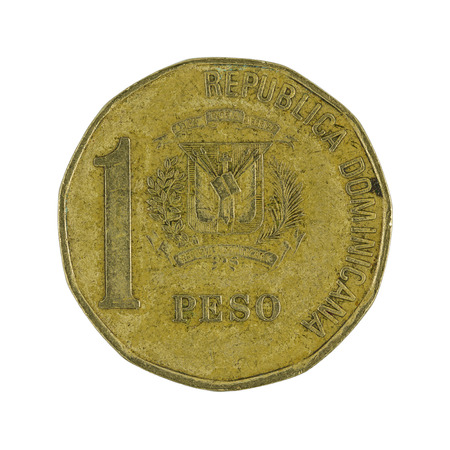 peso: one Dominican peso coin (2002) isolated on white background