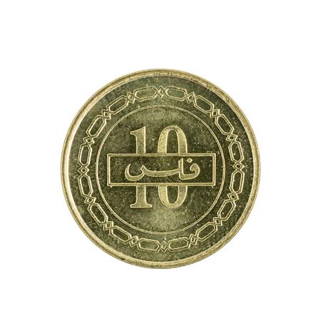 bahrain money: ten bahraini fils coin (2002) isolated on white background